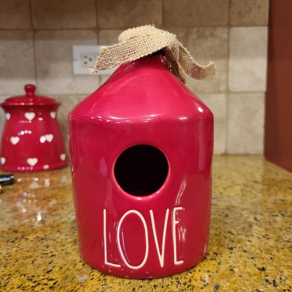 Rae Dunn red birdhouse LOVE
